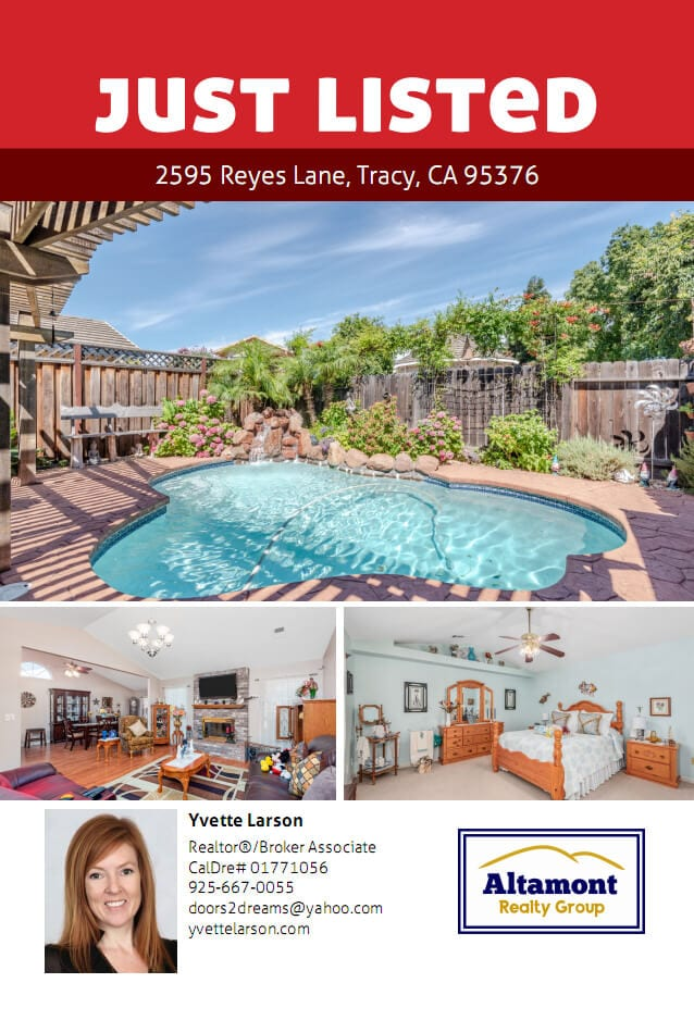 Yvette Larson real estate just listed flyer for Tracy