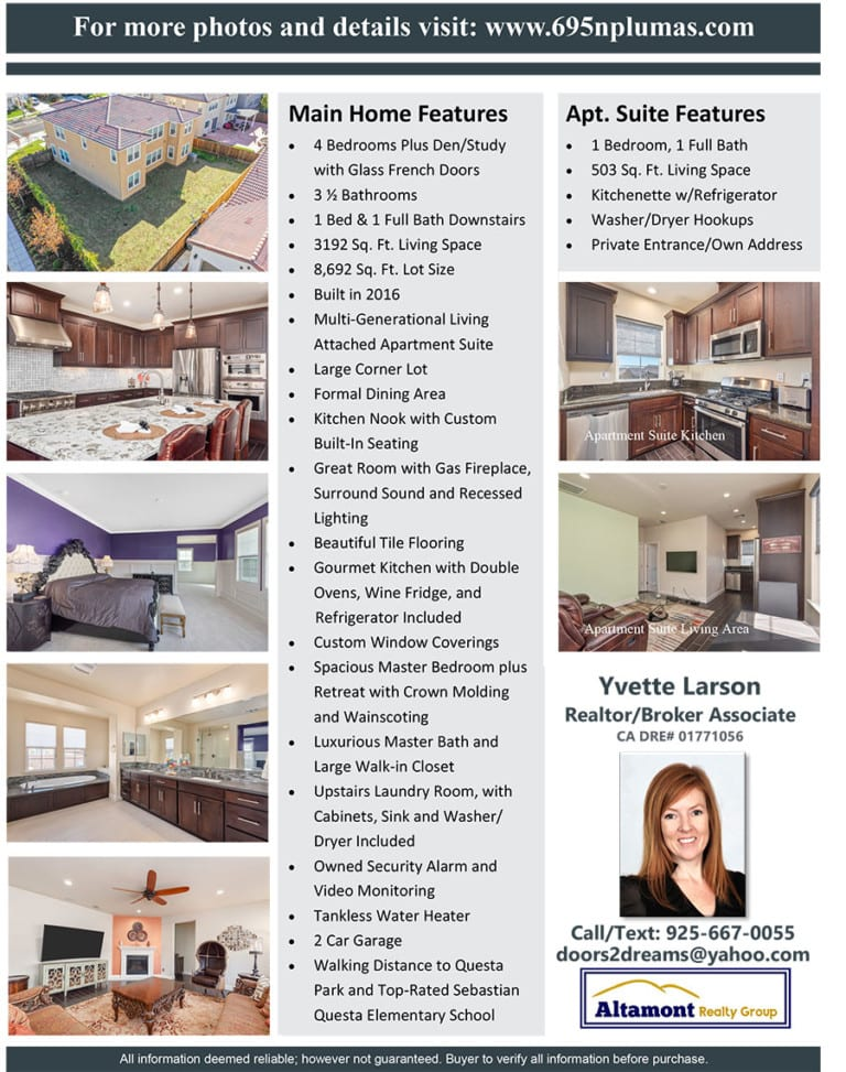Mountain House home for sale flyer from Yvette Larson