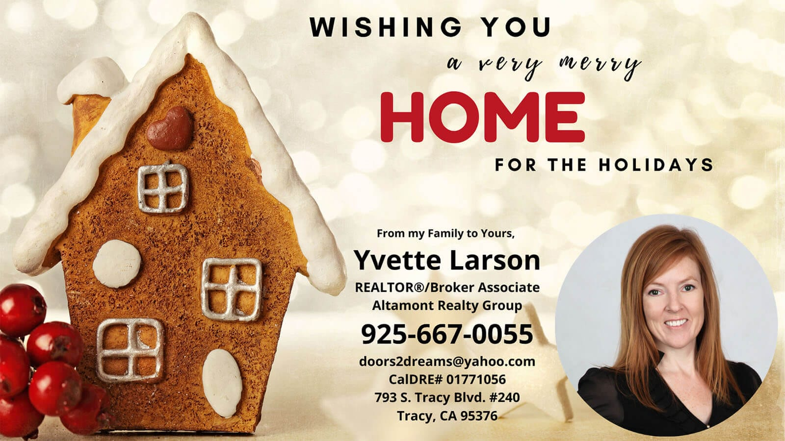 December ad for Yvette Larson, Realtor in Tracy