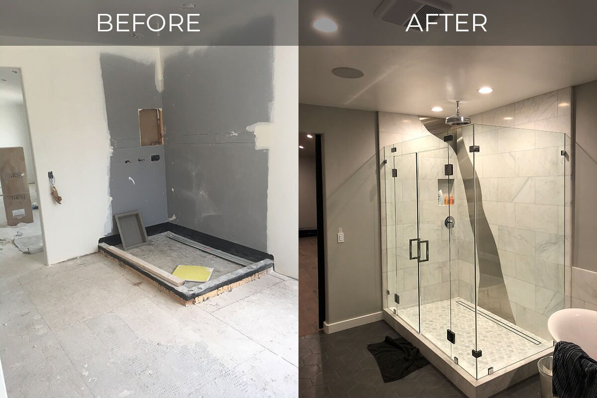 before and after photos of shower remodel in Manteca bathroom