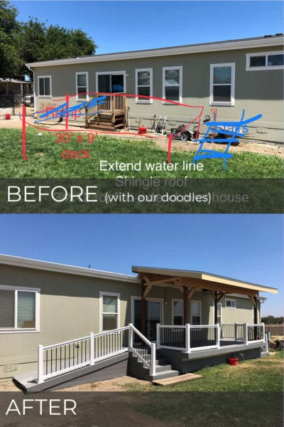 before and after photos of Trex deck built on modular home in Tracy