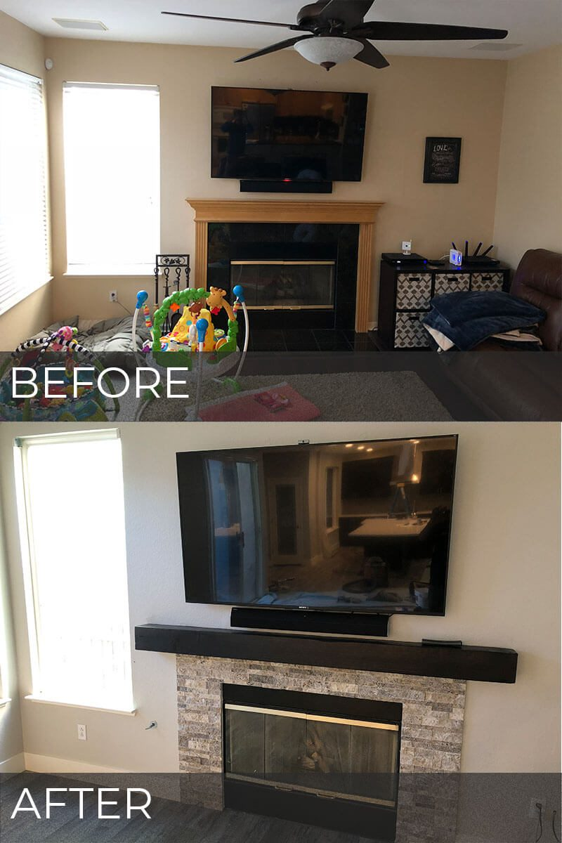 Before and after photos of refaced fireplace with stacked stone