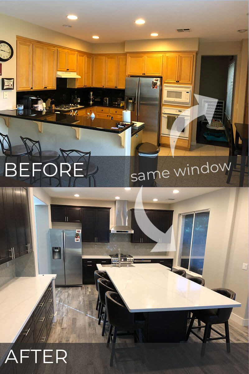 before and after photo of a major kitchen remodel in Tracy