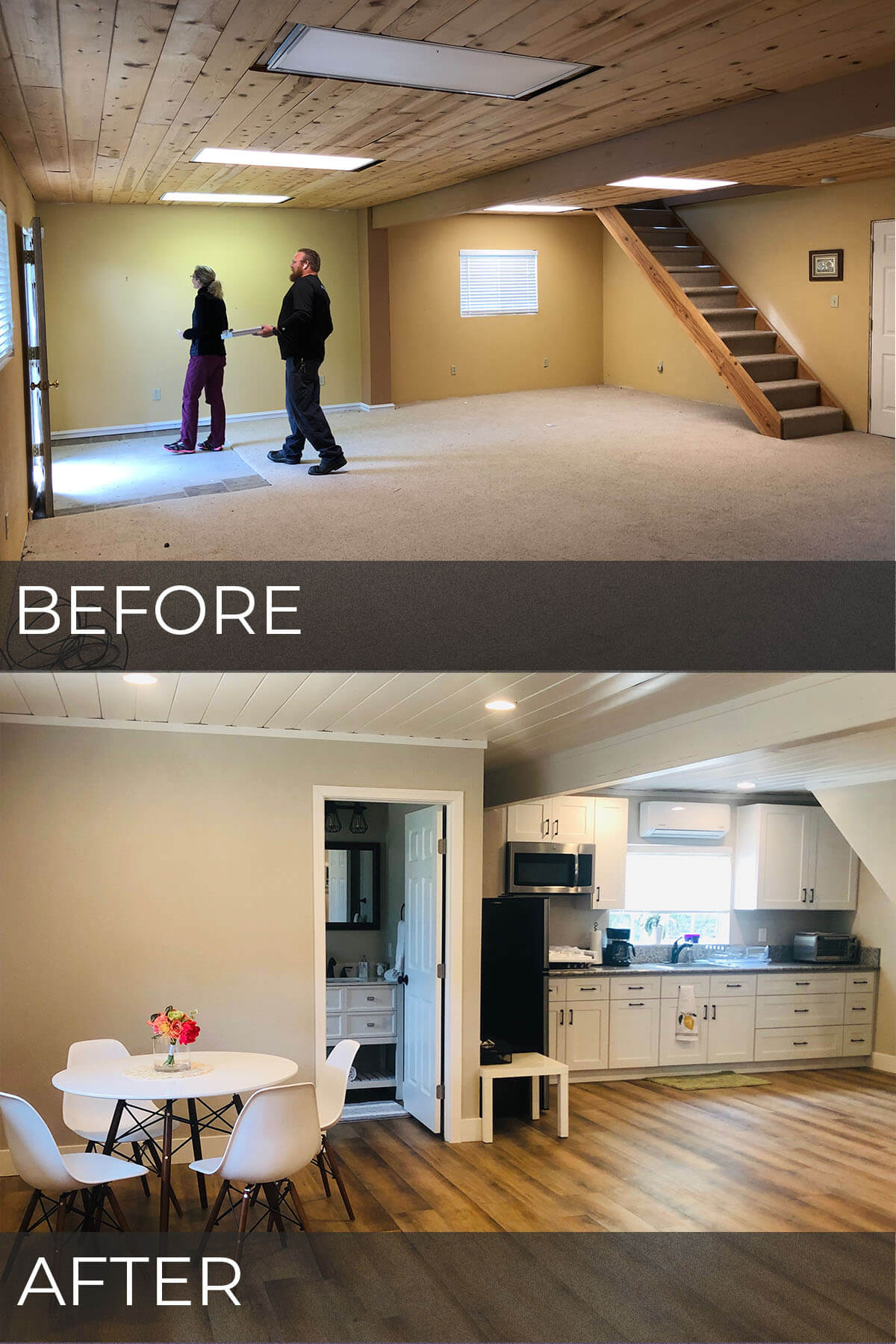 Casita bathroom and kitchen before and after