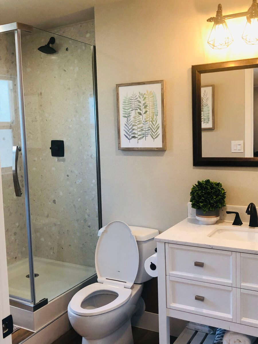 new bathroom built in casita remodeled in Tracy