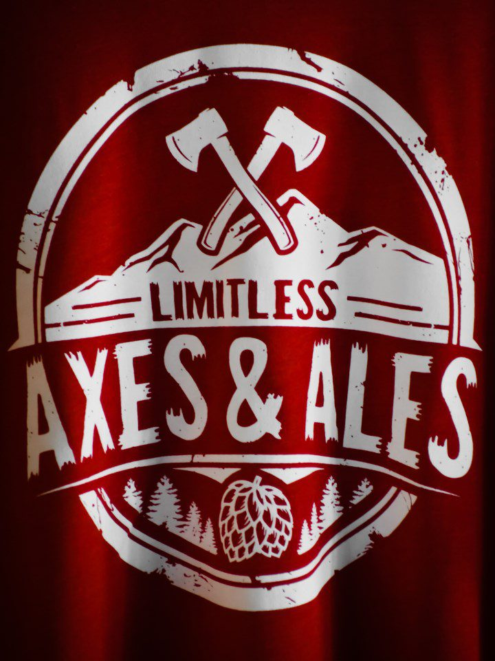 Limitless Axes & Ales logo with red background on beer can