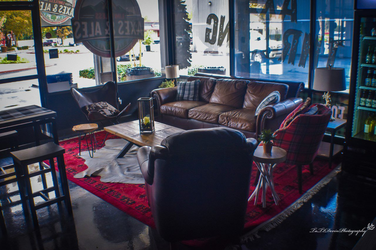 front sitting area in axe throwing bar