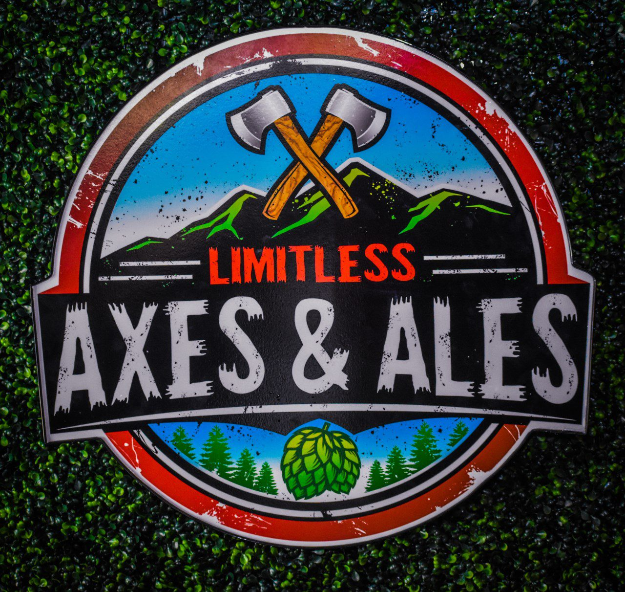 limitless axes and ales on faux grass